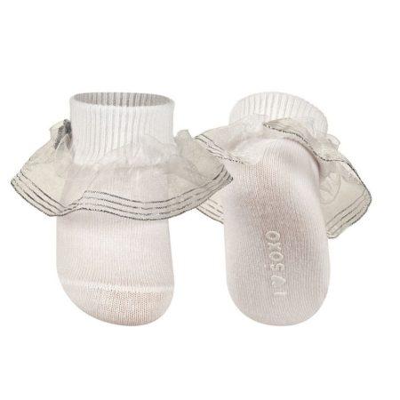 SOXO Fehér, fodros keresztelő zokni 16-17-18