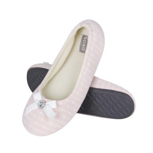 Női rózsaszín mamusz masnival, gyémánt mintával, gumi talppal 35-36