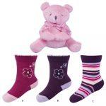 SOXO Ajándékszett 3 pár zoknival és egy plüss macival DÍSZDOBOZBAN 19-21