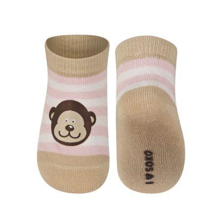 SOXO Csíkos baba zokni majommal 16-17-18