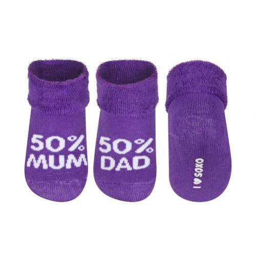 SOXO 50% MUM - 50% DAD lila baba zokni 16-17-18
