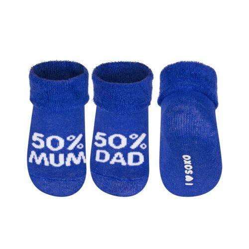 SOXO 50% MUM - 50% DAD sötétkék baba zokni 16-17-18
