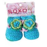 SOXO Horgolt virágos kék baba zokni 15-16